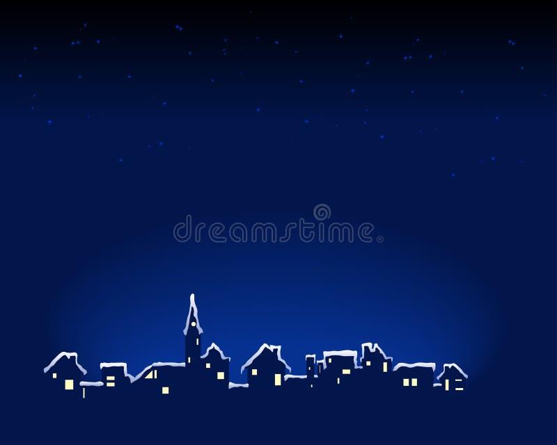 Cidade nevado ilustração do vetor