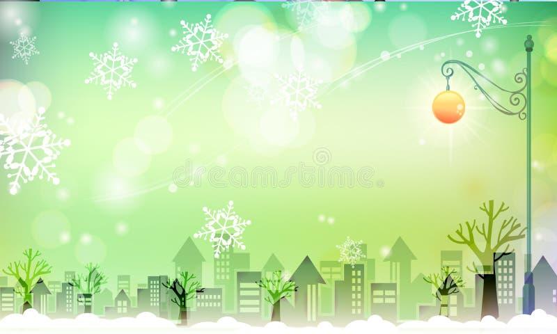 Cidade nevado com cena greenish fotos de stock