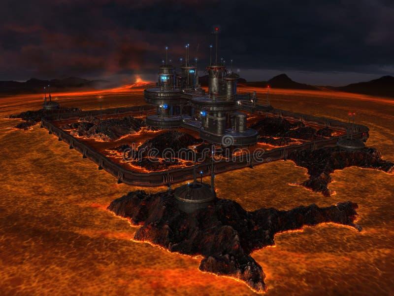 Cidade no centro do lago da lava fotos de stock royalty free