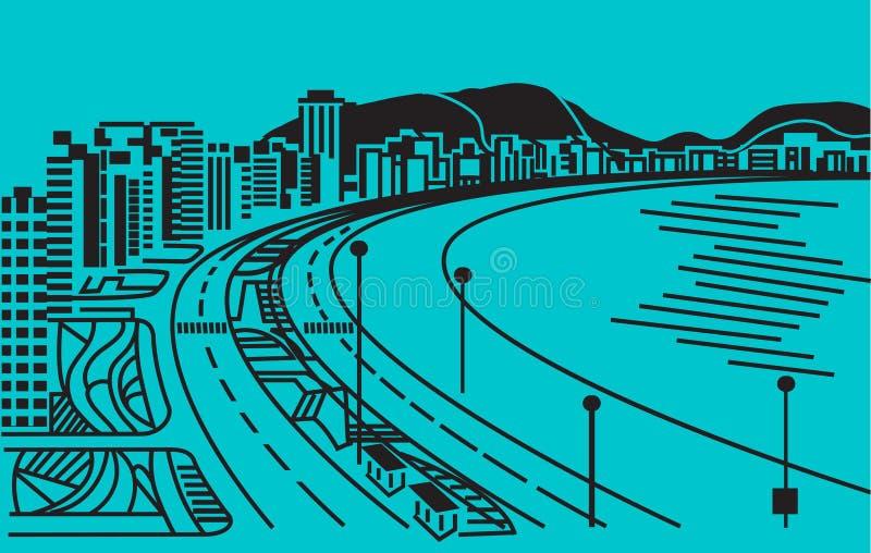 Cidade no custo do mar. ilustração stock