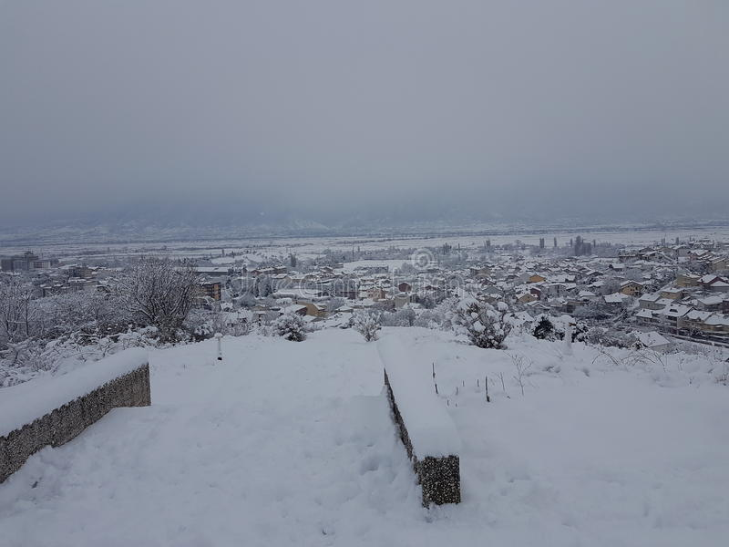 Cidade no inverno foto de stock royalty free