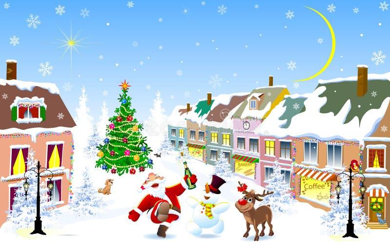 Cidade no inverno Jolly Santa, cervo, boneco de neve na noite de Natal ilustração do vetor