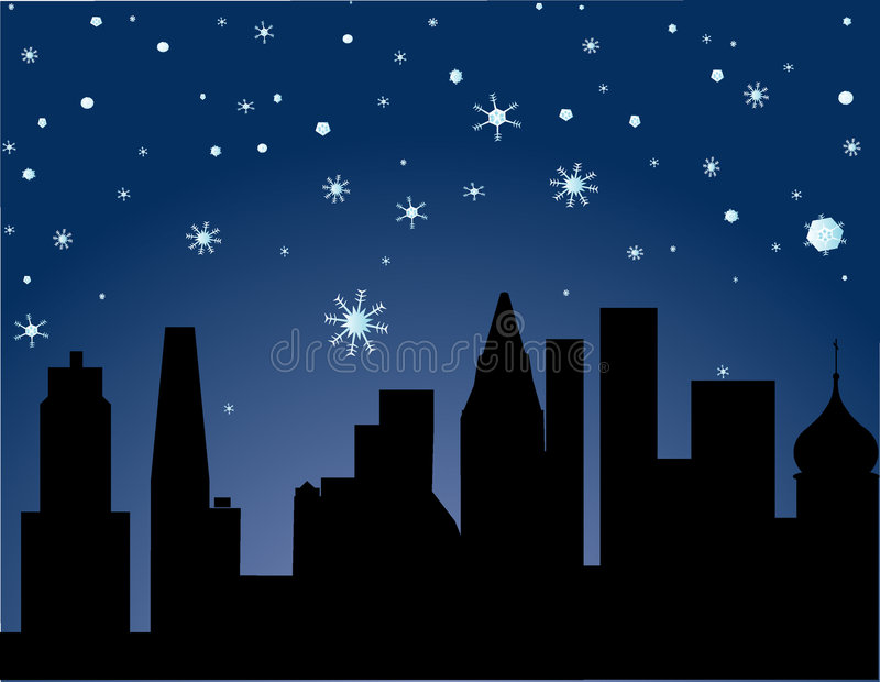 Cidade no inverno - noite estrelado ilustração royalty free