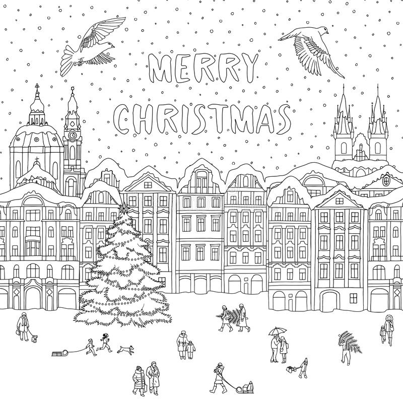 Cidade no inverno no tempo do Natal ilustração royalty free