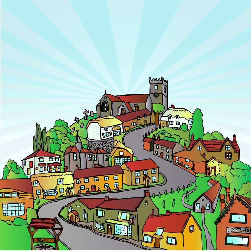 Cidade no monte ilustração do vetor