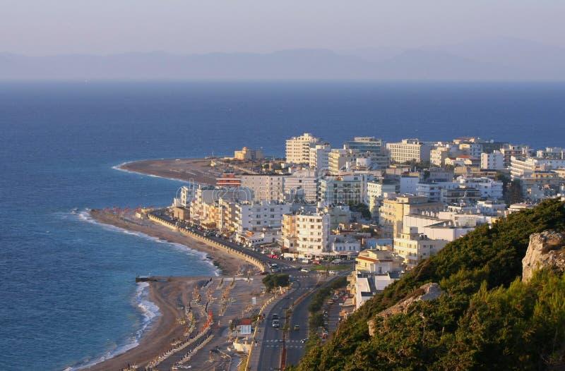 Cidade no por do sol, Greece do Rodes imagens de stock royalty free