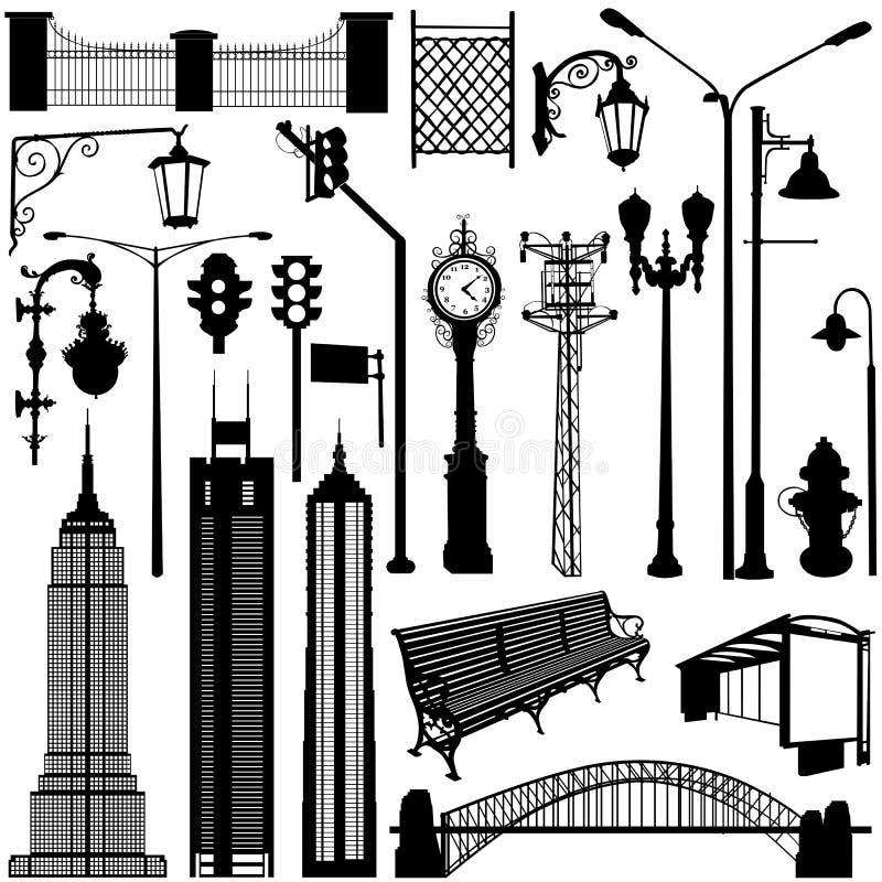 A cidade objeta o vetor ilustração do vetor