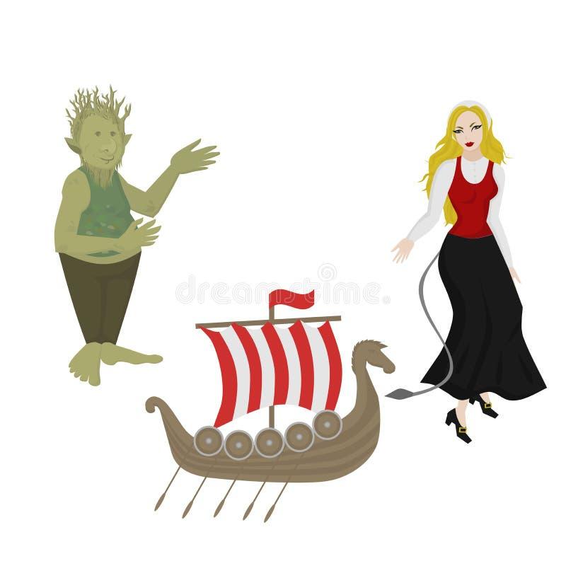 A cidade observa ícones Marco de Noruega Elementos míticos noruegueses do curso liso Viking Ship Menina na roupa tradicional ilustração do vetor