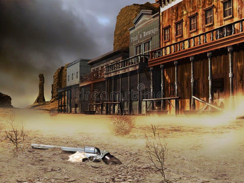 Cidade ocidental abandonada ilustração royalty free