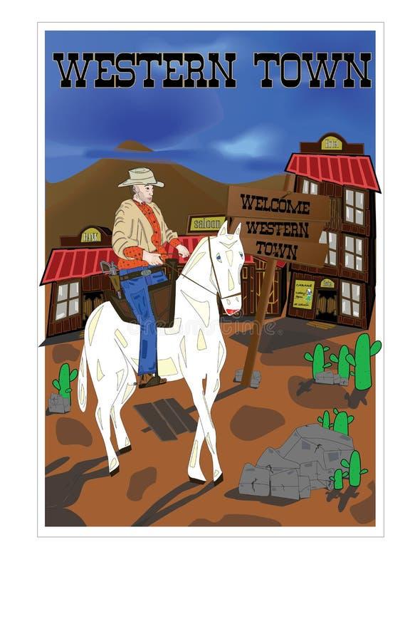 Cidade ocidental e o vaqueiro fotografia de stock