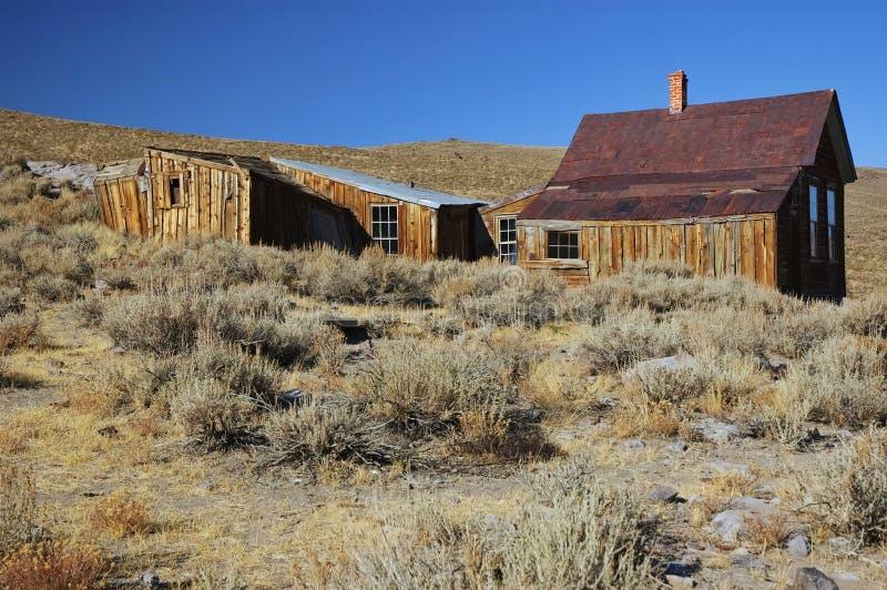 Cidade ocidental velha da mineração do fantasma do ouro dos EUA fotografia de stock