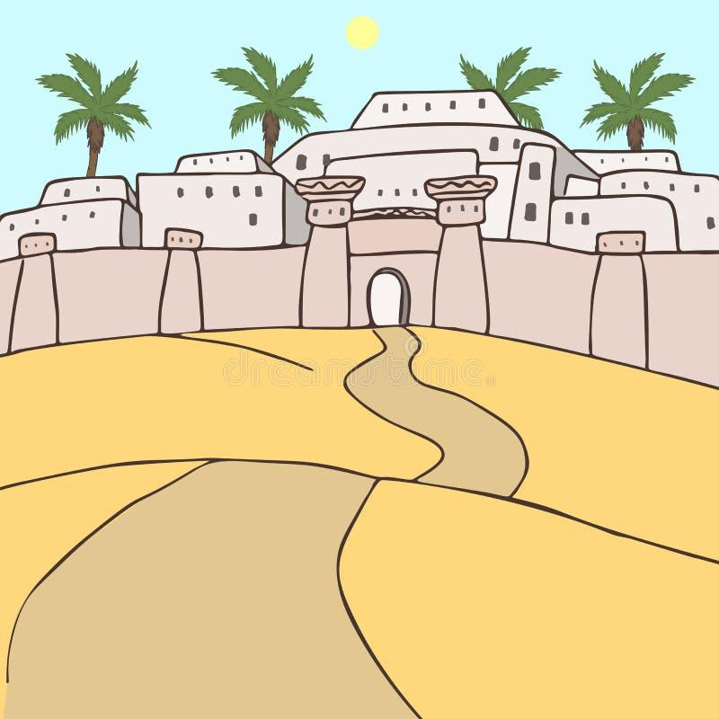 Cidade oriental antiga em desenhos animados da paisagem do deserto ilustração do vetor