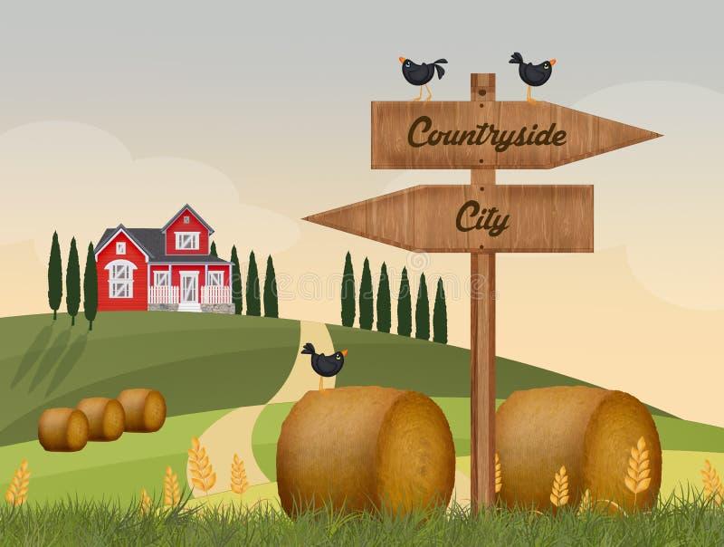 Cidade ou campo ilustração royalty free