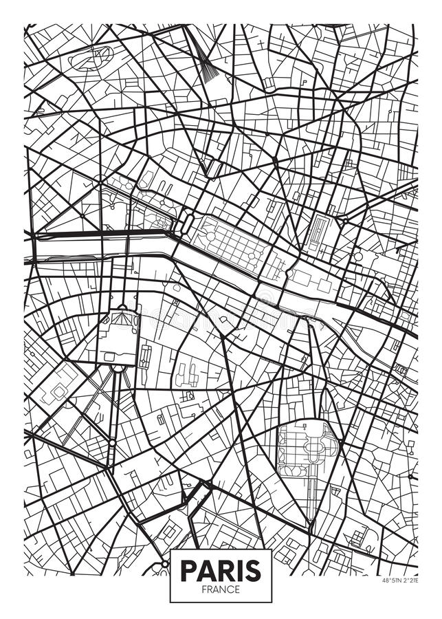 Cidade Paris do mapa do cartaz do vetor ilustração royalty free