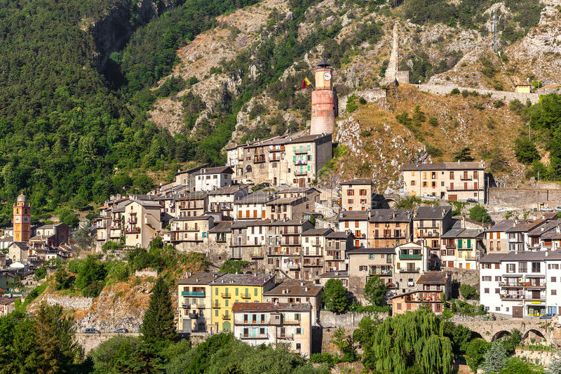 Cidade pequena de Tende em França imagem de stock royalty free