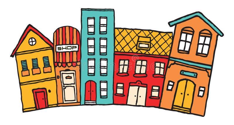 Cidade pequena dos desenhos animados ilustração royalty free