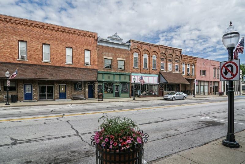 Cidade pequena Main Street imagens de stock