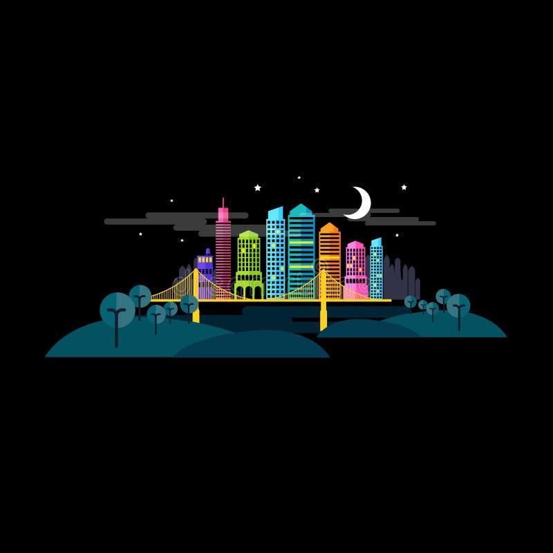 Cidade pequena na noite ilustração do vetor