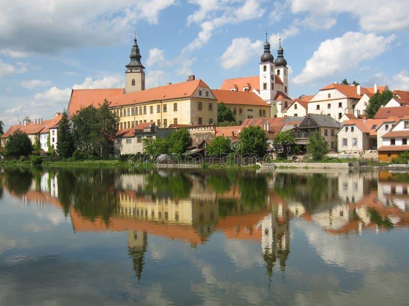 Cidade pequena Telc (UNESCO) foto de stock royalty free