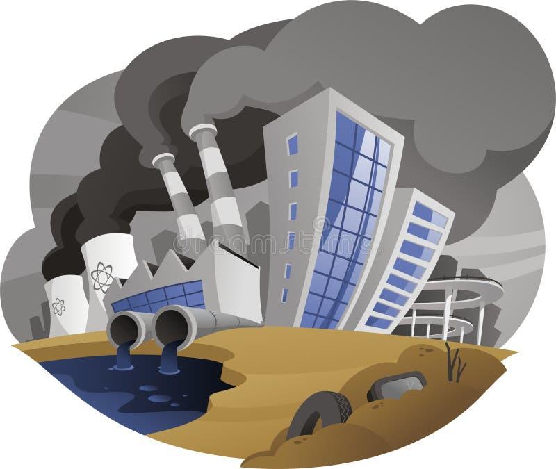 A cidade poluir com a planta de fábrica da chaminé das emanações drena a tubulação waste ilustração stock
