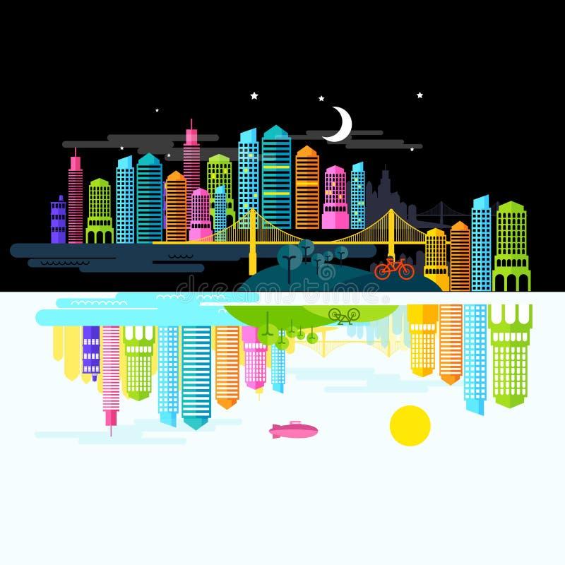 Cidade por dia e noite ilustração stock