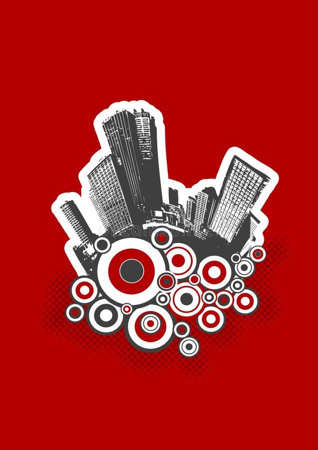 Cidade preta com círculos ilustração royalty free