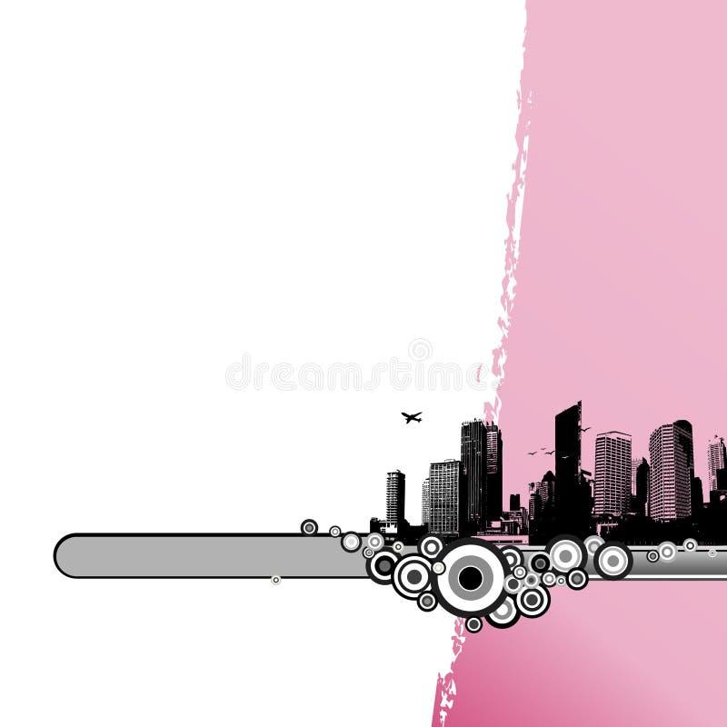 Cidade preta com listra cor-de-rosa. ilustração stock