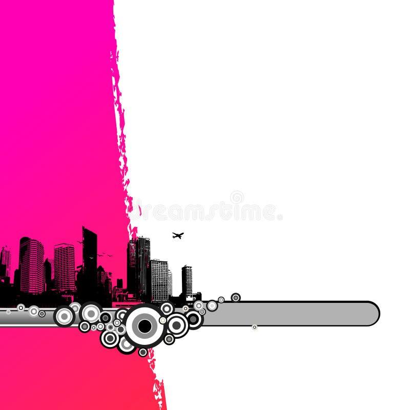 Cidade preta com listra cor-de-rosa. ilustração royalty free