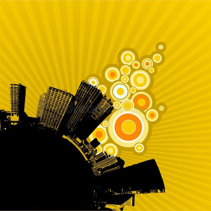 Cidade preta no backgroun amarelo ilustração do vetor