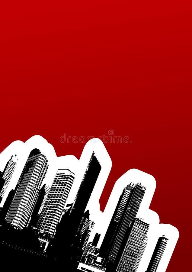 Cidade preta no canto. Vect ilustração stock