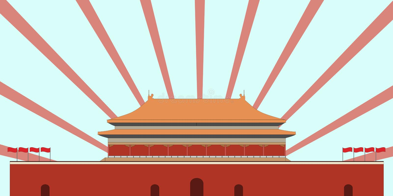 Cidade proibida Porta da paz celestial Quadrado de Beijing Beijin ilustração stock