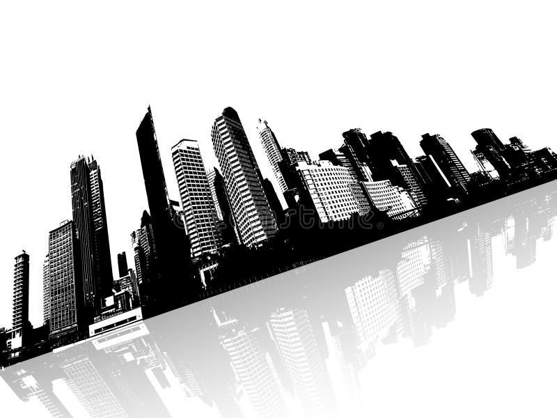Cidade refletida na água. Vetor ilustração royalty free