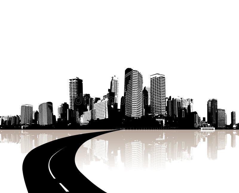 Cidade refletida na água. Vetor ilustração do vetor
