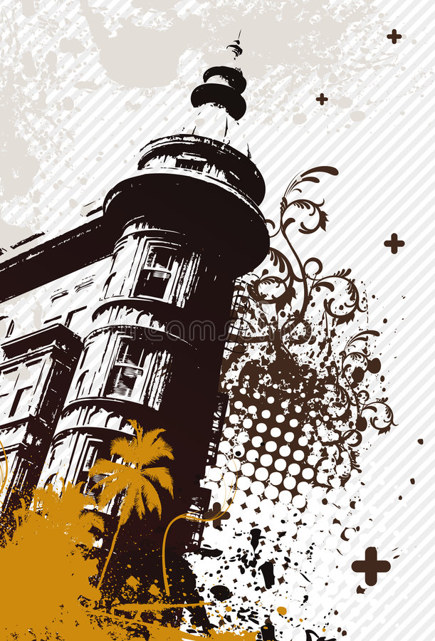 Cidade retro de Grunge ilustração royalty free