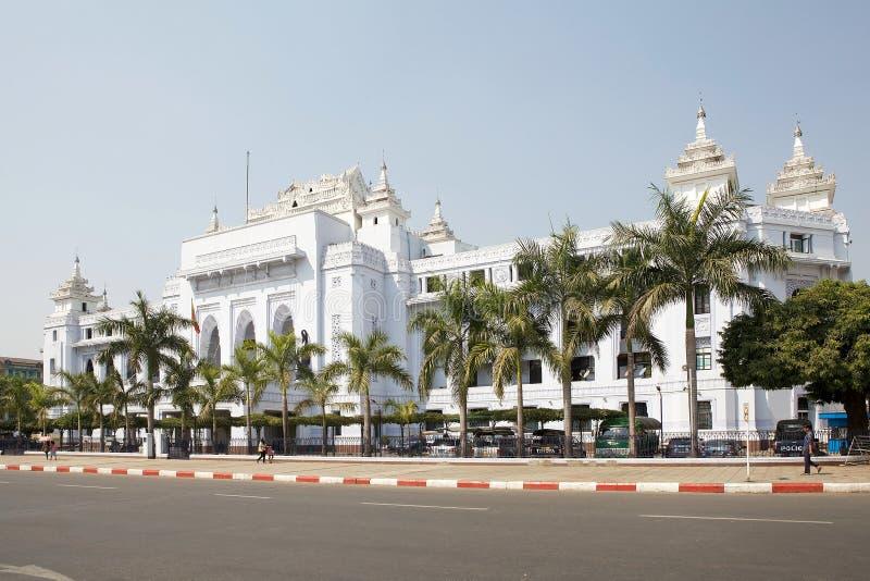 Cidade salão de Yangon, Myanmar foto de stock