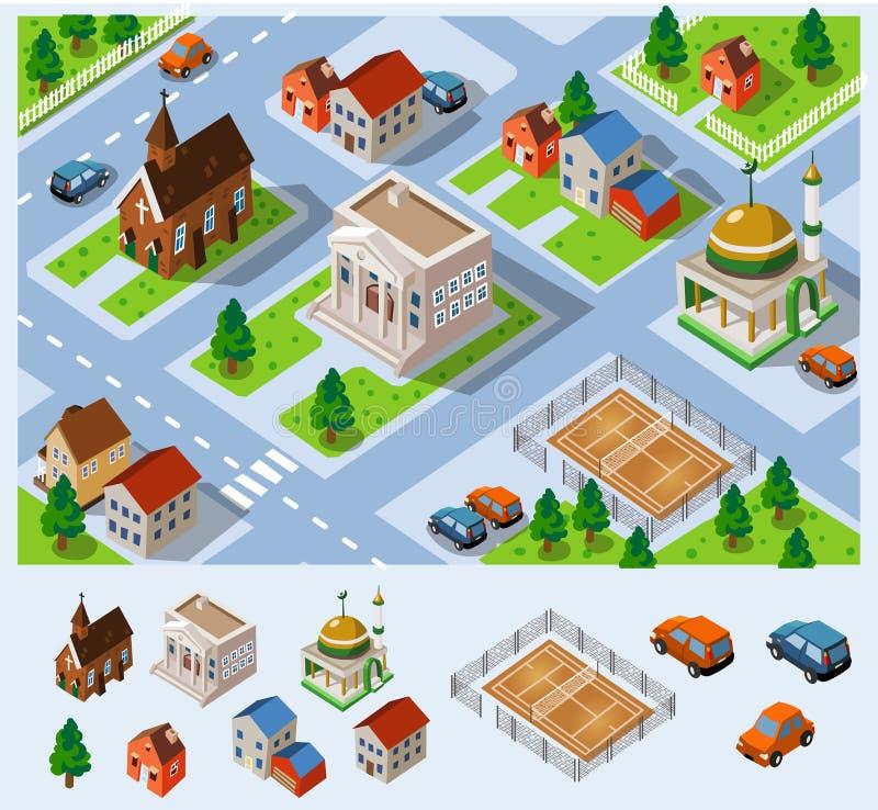 Cidade salão isométrico ilustração do vetor
