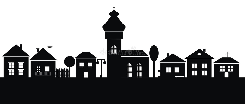 Cidade, silhueta preta ilustração do vetor
