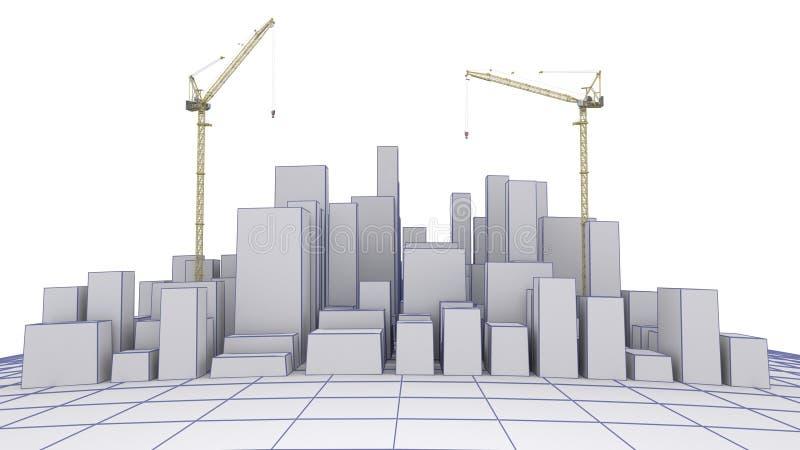 Cidade sob Concstruction ilustração royalty free