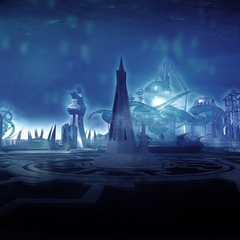 Cidade subaquática ilustração do vetor