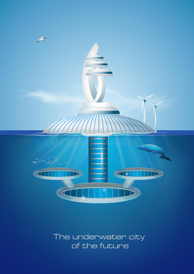 Cidade subaquática amigável de flutuação futurista do eco Iilustration do vetor ilustração do vetor