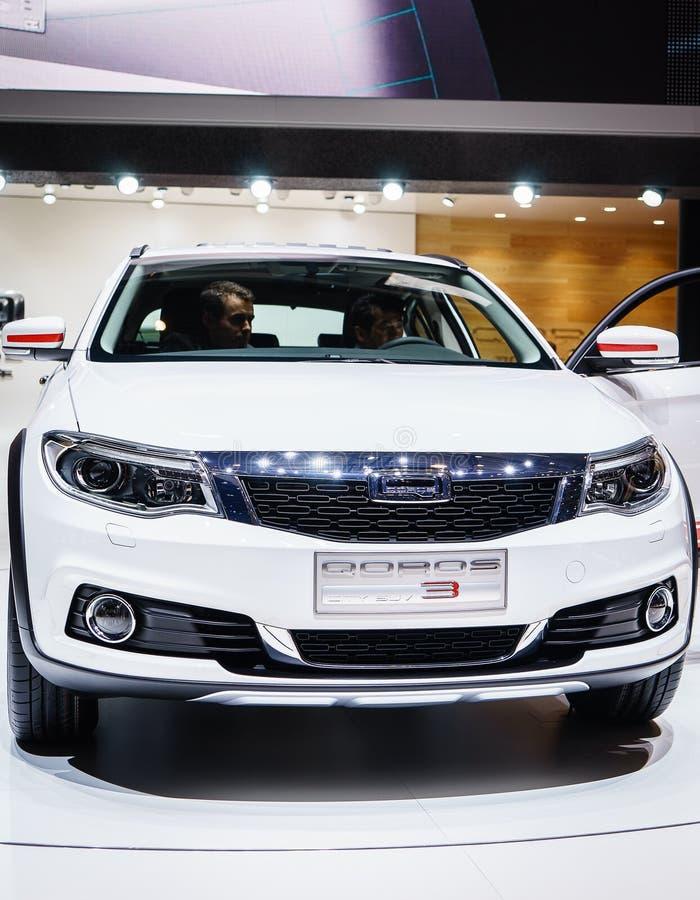 Cidade SUV de Qoros 3, exposição automóvel Genebra 2015 foto de stock