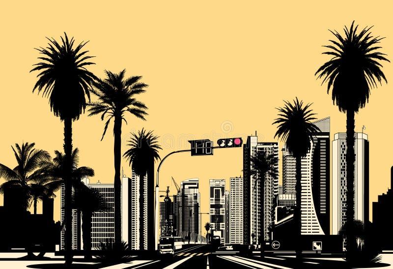 Cidade tropical moderna ilustração royalty free