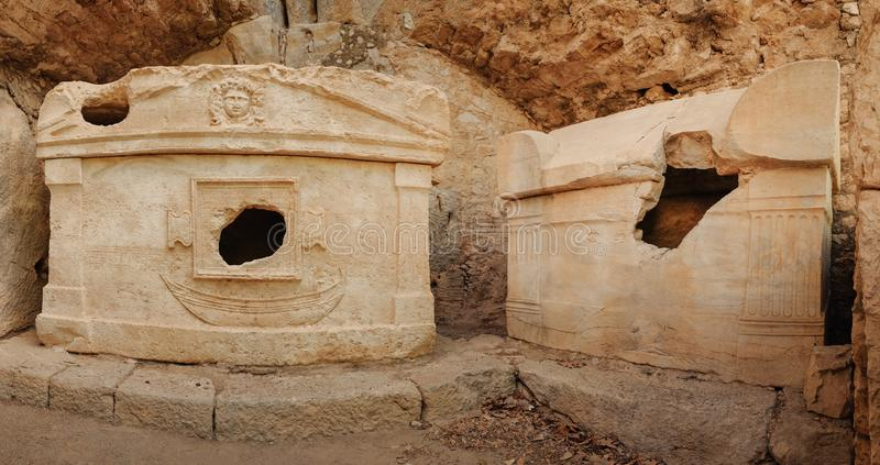Cidade turca antiga de Lycia e ruínas de Olympos, curso a Turquia fotografia de stock royalty free