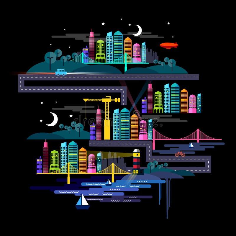 Cidade urbana na noite ilustração do vetor