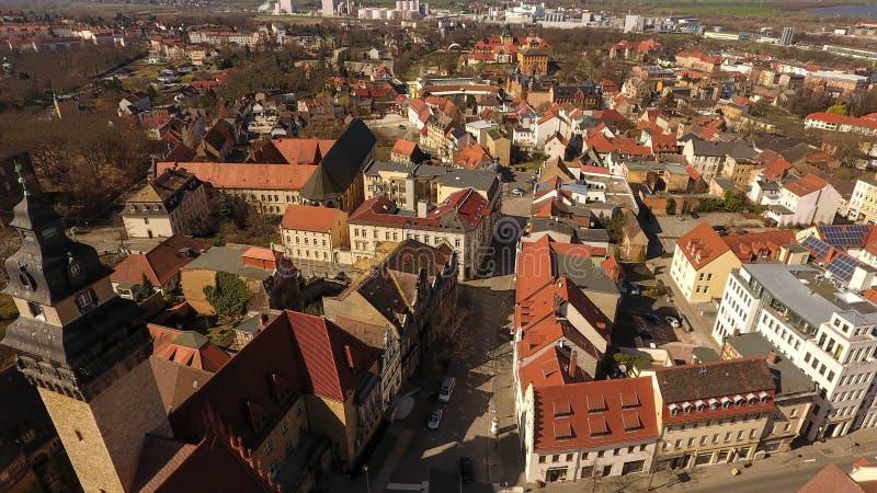 Cidade velha Alemanha Saxony-Anhalt da opinião aérea de Zeitz foto de stock
