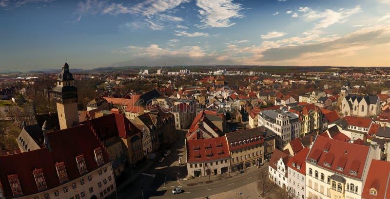 Cidade velha Alemanha Saxony-Anhalt da opinião aérea de Zeitz imagens de stock