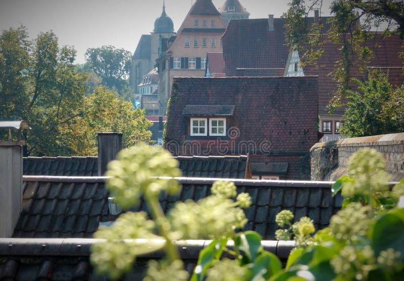 Cidade velha com telhados telhados e fachadas da casa no fundo fotos de stock