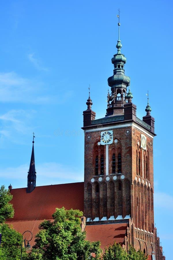 Cidade velha da cidade de Gdansk no Polônia, igreja fotos de stock royalty free