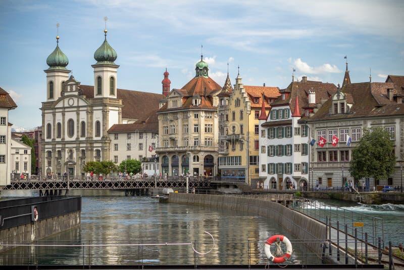 Cidade velha da lucerna, Suíça foto de stock