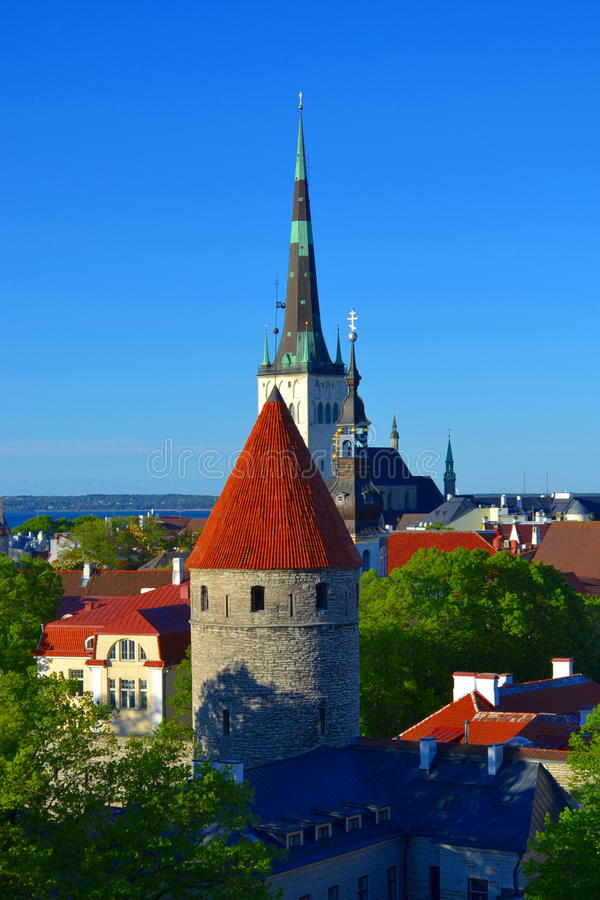 Cidade velha da opinião de Tallinn Estónia foto de stock